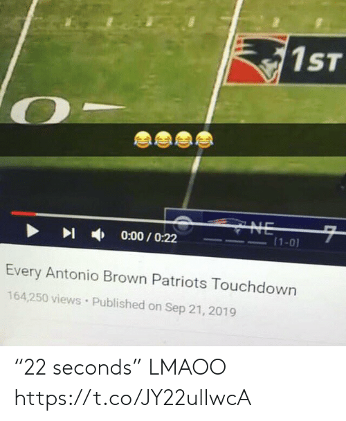 """Football, Nfl, and Patriotic: 1ST  CYNE  7  (1-0)  0:00/O:22  Every Antonio Brown Patriots Touchdown  164,250 views Published on Sep 21, 2019 """"22 seconds"""" LMAOO https://t.co/JY22ulIwcA"""