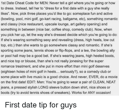 1st Date Cheat Code for MEN Never Tell a Girl Where You're Going or