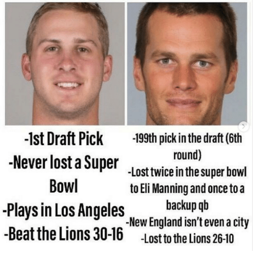 Eli Manning, England, and Nfl: -1st Draft Pick 199th pick in the draft (6th  Never lost a Super lost twiceinthe super bowl  round)  Bowl  Plays in Los Angeles NewEngland isn'tevena city  -Beat the Lions 30-16  to Eli Manning and once toa  backup qb  .New England isn't even a city  -lost to the lions 26-10