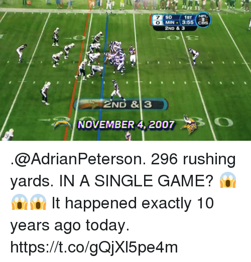 Memes, Nfl, and Cbs: 1ST NFL  MIN 3:55 CBS  SD  2ND & 3  NOVEMBER 4, 2007O .@AdrianPeterson. 296 rushing yards. IN A SINGLE GAME? 😱😱😱  It happened exactly 10 years ago today. https://t.co/gQjXl5pe4m