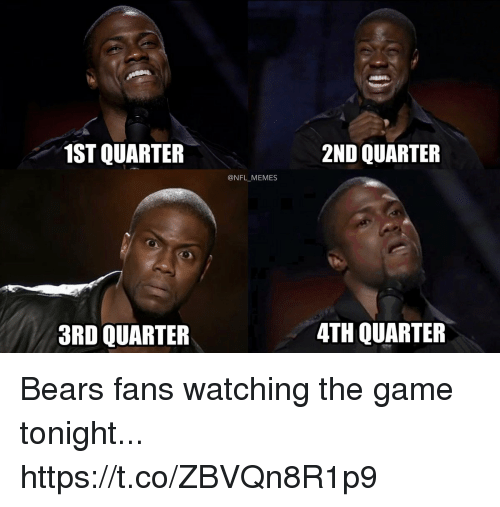 Football, Memes, and Nfl: 1ST QUARTER  2ND QUARTER  @NFL MEMES  3RD QUARTER  4TH QUARTER Bears fans watching the game tonight... https://t.co/ZBVQn8R1p9