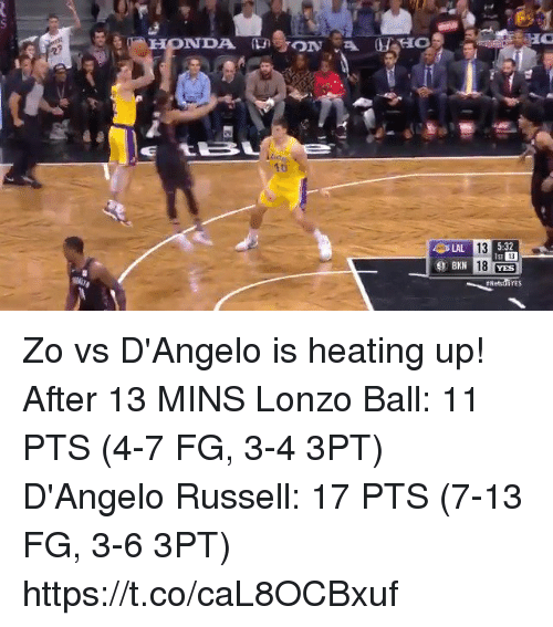Memes, d'Angelo Russell, and 🤖: 1t  5:32  13  18 YES  LAL  13  YES Zo vs D'Angelo is heating up!   After 13 MINS Lonzo Ball: 11 PTS (4-7 FG, 3-4 3PT) D'Angelo Russell: 17 PTS (7-13 FG, 3-6 3PT)   https://t.co/caL8OCBxuf