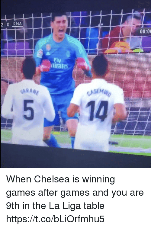 Chelsea, Memes, and Games: 2 0 RMA  00:0  Fly  raf When Chelsea is winning games after games and you are 9th in the La Liga table https://t.co/bLiOrfmhu5