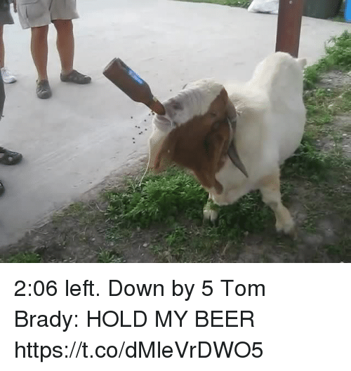 Beer, Memes, and Tom Brady: 2:06 left. Down by 5  Tom Brady: HOLD MY BEER https://t.co/dMleVrDWO5