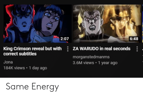 207 648 King Crimson Reveal but With ZA WARUDO in Real