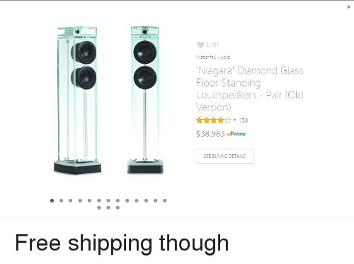 2107 Waterfall Audio Niagara Diamond Glass Floor Standing