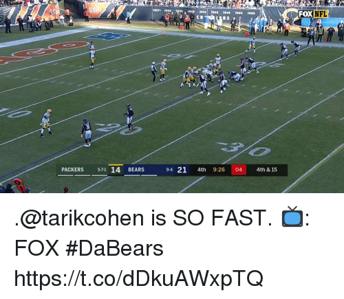 Memes, Nfl, and Bears: 2 , 13,191043 194 1903 ws  FOX NFL  PACKERS 571 14 BEARS  94 21 4th 9:26 044th & 15 .@tarikcohen is SO FAST.  📺: FOX #DaBears https://t.co/dDkuAWxpTQ