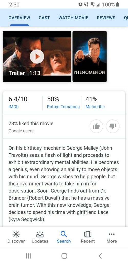 Birthday, Google, and Soon...: 2:30  100%  WATCH MOVIE  REVIEWS  OVERVIEW  CAST  QU  Trailer 1:13  PHENOMENON  6.4/10  50%  41%  IMDB  Rotten Tomatoes  Metacritic  78% liked this movie  Google users  On his birthday, mechanic George Malley (John  Travolta) sees a flash of light and proceeds to  exhibit extraordinary mental abilities. He becomes  a genius, even showing an ability to move objects  with his mind. George wishes to help people, but  the government wants to take him in for  observation. Soon, George finds out from Dr.  Brunder (Robert Duvall) that he has a massive  brain tumor. With this new knowledge, George  decides to spend his time with girlfriend Lace  (Kyra Sedgwick).  Updates  Search  Discover  Recent  More