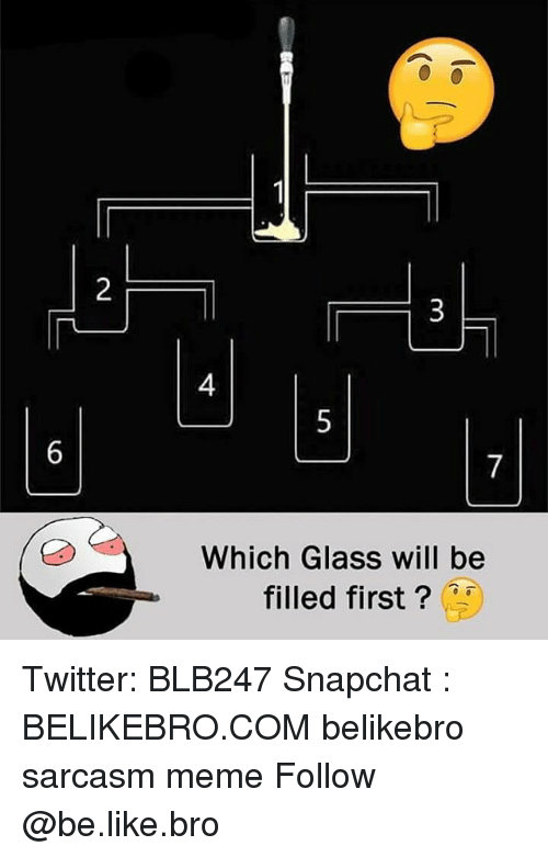 Be Like, Meme, and Memes: 2  4  6  Which Glass will be  filled first? Twitter: BLB247 Snapchat : BELIKEBRO.COM belikebro sarcasm meme Follow @be.like.bro