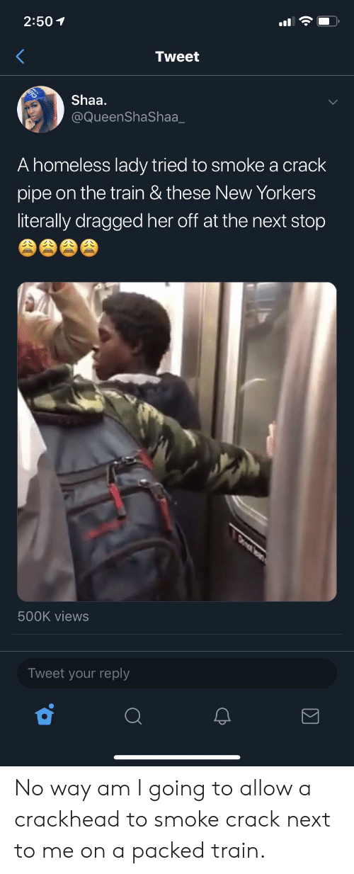 Blackpeopletwitter, Crackhead, and Funny: 2:50  Tweet  Shaa.  @QueenShaShaa  A homeless lady tried to smoke a crack  pipe on the train & these New Yorkers  literally dragged her off at the next stop  Dont  500K views  Tweet your reply No way am I going to allow a crackhead to smoke crack next to me on a packed train.