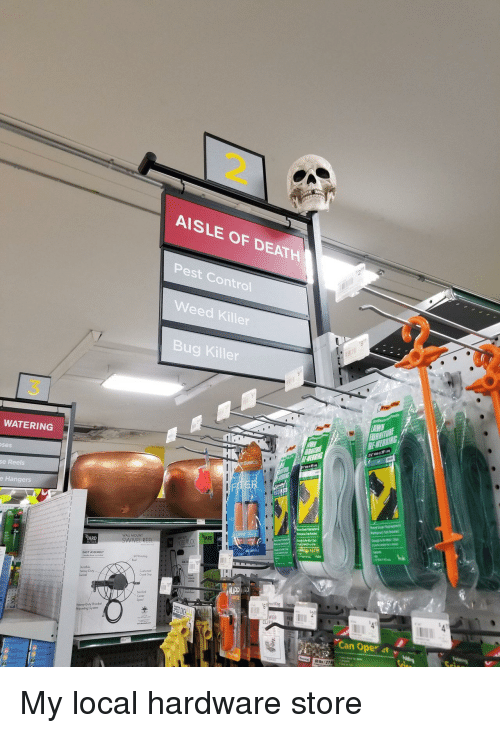 Weed, Control, and Death: 2.  AISLE OF DEATH  Pest Control  Weed Killer  Bug Killer  3  WATERING  ses  Basics  se Reels  e Hangers  RD  WALL MOUNT  SWIVEL REE  EASY ASSEMBLY  Crank Gop  Heavy Duty Bracket  Mouning System  WEB  Can Oper 4t v My local hardware store