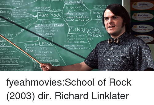 Nirvana, Pink Floyd, and School: 2 Drafting  NIRVANA  Rock  3 Revising  ard RocK , souhDoraye HEAVY  THE WHo  4 Editing  Sex is  ishing  Fi  le  ㄨ大  eTHRRo  ELD PINk FLOYD  Genesis  lam fyeahmovies:School of Rock (2003) dir. Richard Linklater