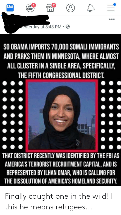Fbi, Obama, and Capital: 2  esterday at 8:48 PM.  SO OBAMA IMPORTS 70,000 SOMALI IMMIGRANTS  AND PARKS THEM IN MINNESOTA, WHERE ALMOST  ALL CLUSTER IN A SINGLE AREA, SPECIFICALLY,  THE FIFTH CONGRESSIONAL DISTRICT  THAT DISTRICT RECENTLY WAS IDENTIFIED BY THE FBI AS  AMERICA'S TERRORIST RECRUITMENT CAPITAL, AND IS  REPRESENTED BY ILHAN OMAR, WHO IS CALLING FOR  THE DISSOLUTION OF AMERICA'S HOMELAND SECURITY Finally caught one in the wild! I this he means refugees...