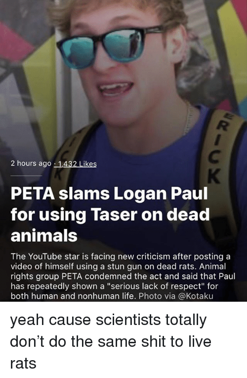 "Animals, Life, and Memes: 2 hours ago 1,432 Likes  PETA slams Logan Paul  for using Taser on dead  animals  The YouTube star is facing new criticism after posting a  video of himself using a stun gun on dead rats. Animal  rights group PETA condemned the act and said that Paul  has repeatedly shown a ""serious lack of respect for  both human and nonhuman life. Photo via @Kotaku yeah cause scientists totally don't do the same shit to live rats"