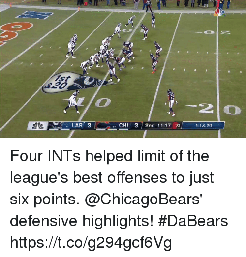 Memes, Best, and 🤖: 2  I LAR 3  e4 CHI 3 2nd 11:17 :03  1st & 20 Four INTs helped limit of the league's best offenses to just six points.   @ChicagoBears' defensive highlights! #DaBears https://t.co/g294gcf6Vg