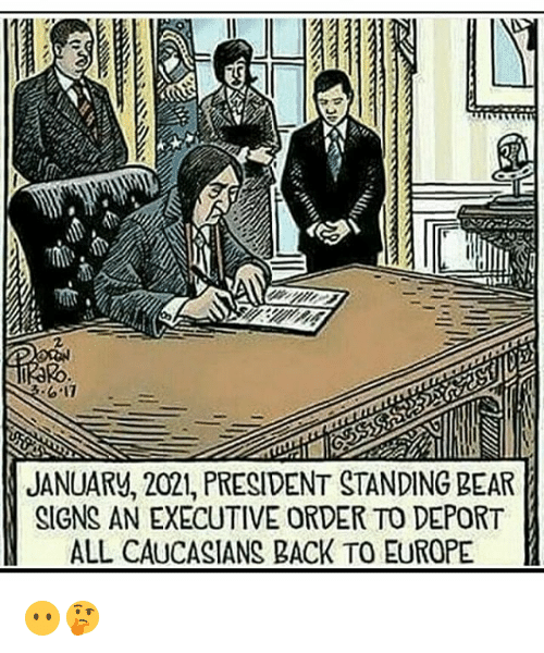Memes, Bear, and Europe: 2  JANUARV, 2021, PRESIDENT STANDING BEAR  SIGNS AN EXECUTIVE ORDER TO DEPORT  ALL CAUCASIANS BACK TO EUROPE 😶🤔