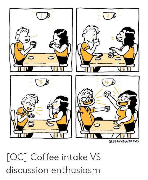 Coffee, Enthusiasm, and  Discussion: 2  L4  3  @SEANYBOyDRAWS [OC] Coffee intake VS discussion enthusiasm