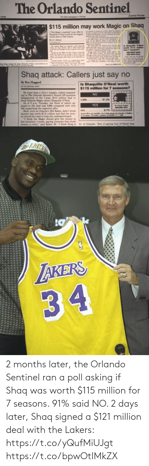 Los Angeles Lakers, Memes, and Shaq: 2 months later, the Orlando Sentinel ran a poll asking if Shaq was worth $115 million for 7 seasons. 91% said NO.   2 days later, Shaq signed a $121 million deal with the Lakers: https://t.co/yQufMiUJgt https://t.co/bpwOtIMkZX