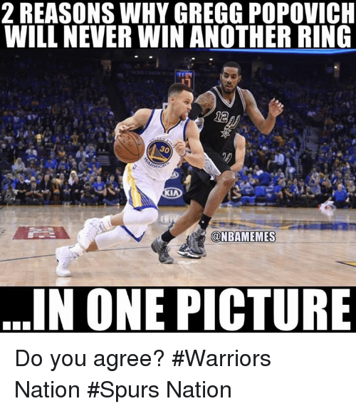 Nba, Spurs, and Warriors: 2 REASONS WHY GREGG POPOVICH  WILL NEVERWIN ANOTHER RING  30  RIO  OKIA  (ONBAMEMES  IN ONE PICTURE Do you agree? #Warriors Nation #Spurs Nation