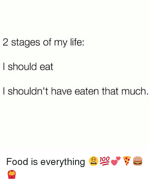 Food, Life, and Memes: 2 stages of my life:  | should eat  I shouldn't have eaten that much Food is everything 😩💯💕🍕🍔🍟