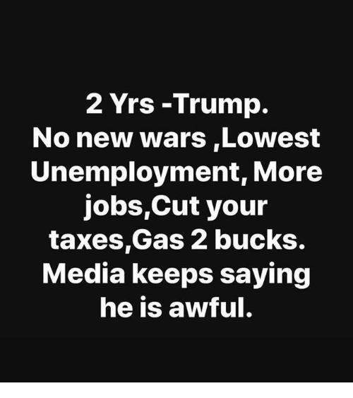 Memes, Taxes, and Jobs: 2 Yrs -Trump.  No new wars,Lowest  Unemployment, More  jobs,Cut your  taxes,Gas 2 bucks.  Media keeps saying  he is awful.