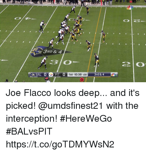 Memes, Joe Flacco, and 🤖: 20  3RD & 4  BAL 0  PIT 0  1st 10:38 :08  3rd & 4 Joe Flacco looks deep... and it's picked!  @umdsfinest21 with the interception! #HereWeGo #BALvsPIT https://t.co/goTDMYWsN2