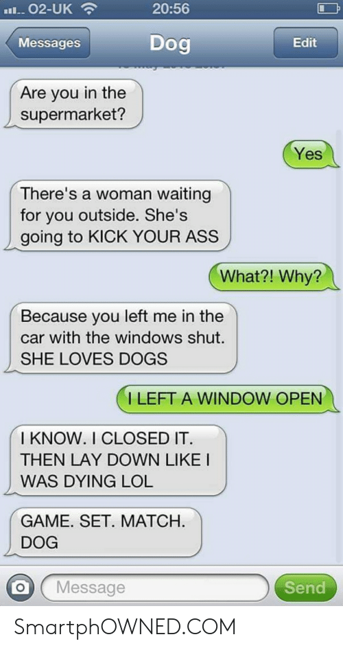 Ass, Dogs, and Lol: 20:56  Messages  Dog  Edit  Are you in the  supermarket?  Yes  There's a woman waiting  for you outside. She's  going to KICK YOUR ASS  What?! Why?  Because you left me in the  car with the windows shut.  SHE LOVES DOGS  ILEFT A WINDOW OPEN  I KNOW. I CLOSED IT  THEN LAY DOWN LIKE I  WAS DYING LOL  GAME. SET. MATCH  DOG  O Message  Send SmartphOWNED.COM