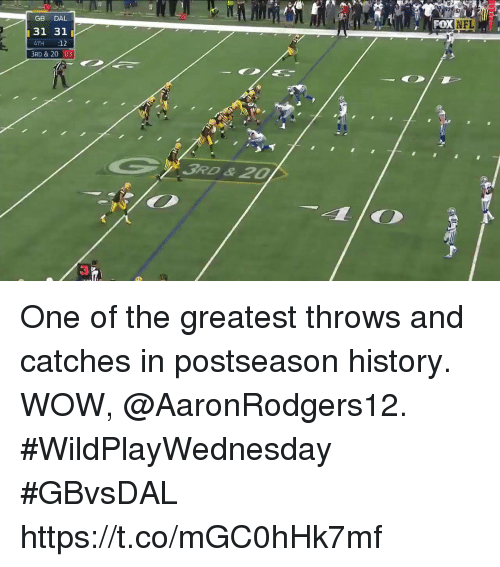 Memes, Nfl, and Wow: 20  GB DAL  31 31  4TH 12  3RD & 20 :03  FOx  NFL  3RD &20 One of the greatest throws and catches in postseason history.  WOW, @AaronRodgers12. #WildPlayWednesday #GBvsDAL https://t.co/mGC0hHk7mf