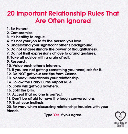 20 Important Relationship Rules That Are Offen Ignored 1 Be Honest 2