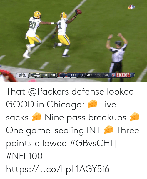 Chicago, Memes, and Nfl: 20  KICKOFF  GB 10  CHI  3  1:58  4th  NFL  40 That @Packers defense looked GOOD in Chicago:  🧀 Five sacks  🧀 Nine pass breakups  🧀 One game-sealing INT  🧀 Three points allowed   #GBvsCHI   #NFL100 https://t.co/LpL1AGY5i6