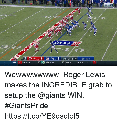 Memes, Nfl, and Roger: 20  NFL  4th  KC9 TuNYG9 OT 2:12 11 4TH & 6  (6-3)  -8)  NFL TB 13-61.  臑쟬  20  MIA (4-51  20 4TH:07 4th & 7  17) Wowwwwwwww.  Roger Lewis makes the INCREDIBLE grab to setup the @giants WIN. #GiantsPride https://t.co/YE9qsqlql5