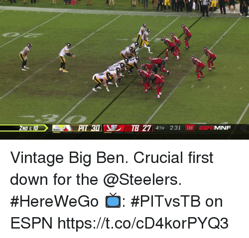 Espn, Memes, and Steelers: 20  P:  TB 27 4TH 2:31 08 ESMNF  2ND & 10 Vintage Big Ben.  Crucial first down for the @Steelers. #HereWeGo  📺: #PITvsTB on ESPN https://t.co/cD4korPYQ3