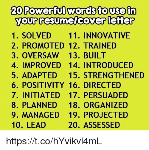 20 powerful words to use in your resumelcover letter 1 solved 11 innovative 2 promoted 12