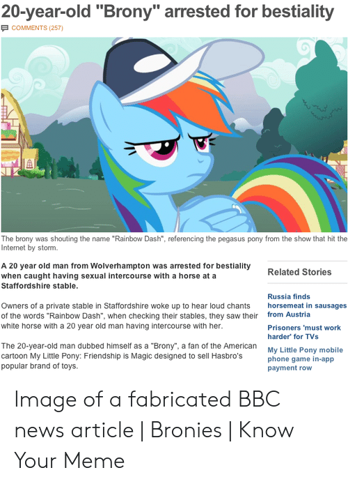 20-Year-Old Brony Arrested for Bestiality COMMENTS 257 the