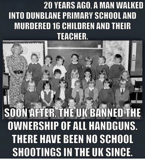 Latest School Shooting Today: 20 YEARS AGO A MAN WALKED INTO DUNBLANE PRIMARY SCHOOL AND