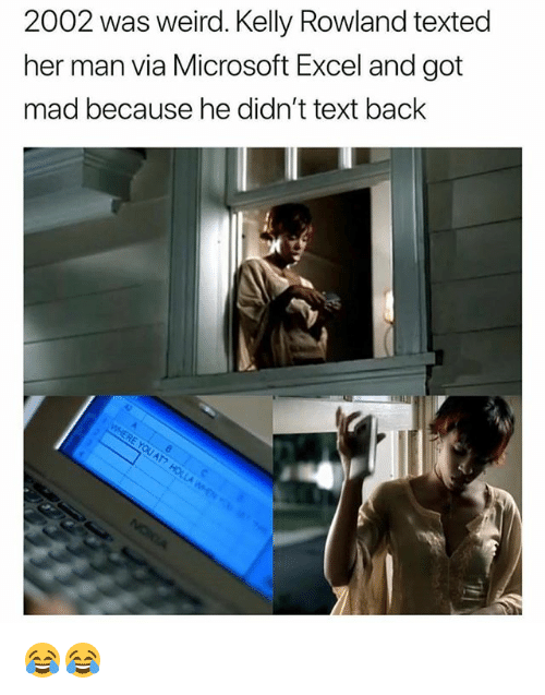 Memes, Microsoft, and Microsoft Excel: 2002 was weird. Kelly Rowland texted  her man via Microsoft Excel and got  mad because he didn't text back 😂😂