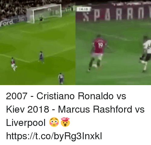Cristiano Ronaldo, Soccer, and Liverpool F.C.: 2007 - Cristiano Ronaldo vs Kiev 2018 - Marcus Rashford vs Liverpool   😳🤯 https://t.co/byRg3InxkI