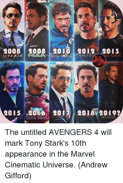 Bailey Jay, Memes, and Avengers: 20082008 2010 2o12 2013  2015 200 2017 2018 2019? The untitled AVENGERS 4 will mark Tony Stark's 10th appearance in the Marvel Cinematic Universe.  (Andrew Gifford)