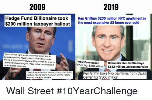 2009 2019 Hedge Fund Billionaire tookKen Griffin's $230