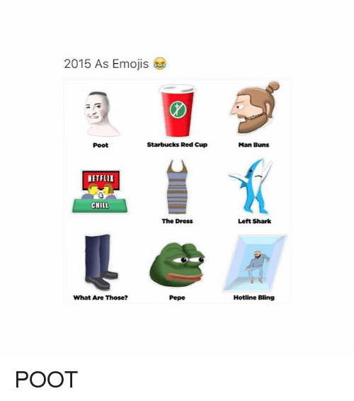 2015 As Emojis Poot Starbucks Red Cup Netflix Chill The Dress What