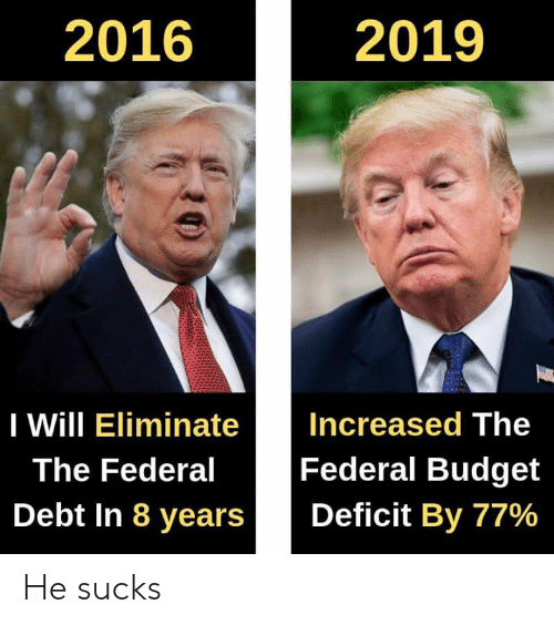 Memes, Budget, and 🤖: 2016  2019  I Will EliminateIncreased The  Federal Budget  Debt in 8 years | | Deficit By 77%  The Federal He sucks