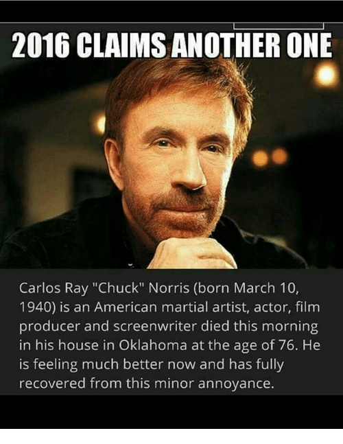 2016 CLAIMS ANOTHER ONE Carlos Ray Chuck Norris Born March ...