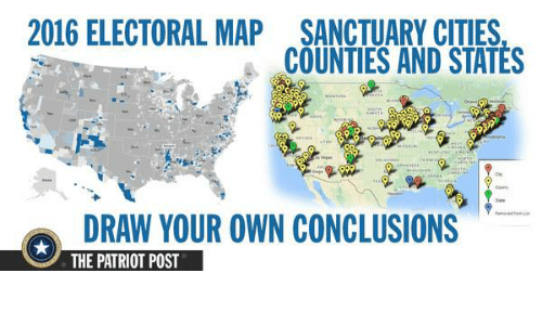 Map Of Sanctuary Citys In The Us Globalinterco - 2016 us counties election map meme