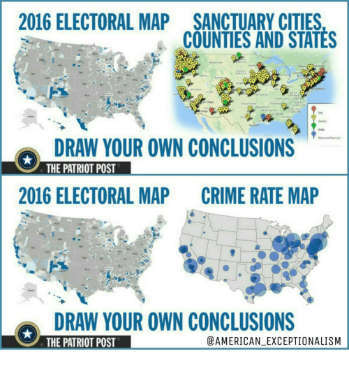 ELECTORAL MAP SANCTUARY CITIES COUNTIES AND STATES DRAW YOUR - 2016 us counties election map meme