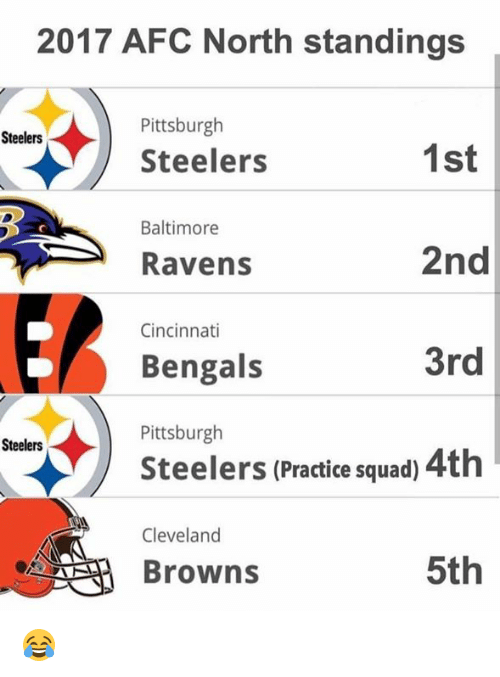 Cincinnati Bengals, Cleveland Browns, and Nfl: 2017 AFC North standings  Pittsburgh  Steelers  Steelers  1st  Baltimore  2nd  3rd  Steelers (Practice squad) 4th  5th  Ravens  Cincinnati  Bengals  Pittsburgh  Steelers  Cleveland  Browns 😂