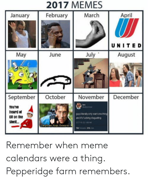 Meme, Memes, and April: 2017 MEMES  February  January  March  April  UNITE D  May  June  July  August  September Octobe November December  rouve  heard of  Ell on the  shel...  gJys eraly anly want one thing  and t'sfucking disguting Remember when meme calendars were a thing. Pepperidge farm remembers.