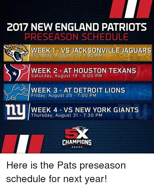 2017 new england patriots preseason schedule week 1 vs jacksonville