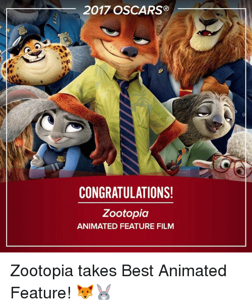 2017 Oscars Congratulations Zootopia Animated Feature Film Zootopia