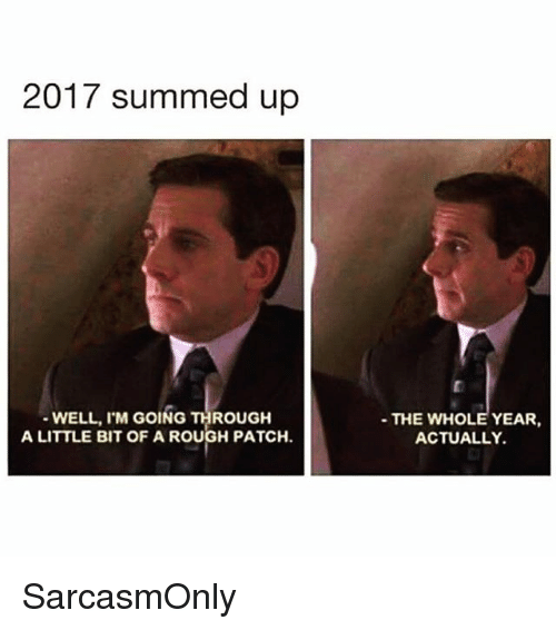 Funny, Memes, and Rough: 2017 summed up  WELL, I'M GOING THROUGH  A LITTLE BIT OF A ROUGH PATCH.  THE WHOLE YEAR,  ACTUALLY. SarcasmOnly