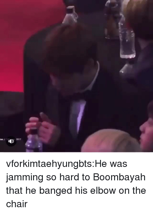 Tumblr, Blog, and Chair: 2017 vforkimtaehyungbts:He was jamming so hard to Boombayah that he banged his elbow on the chair
